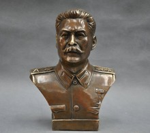 decoration bronze factory Pure Brass Antique 6'' Elaborate Russian Leader Joseph Stalin Bust Bronze Statue sculpture russian phrasebook 6
