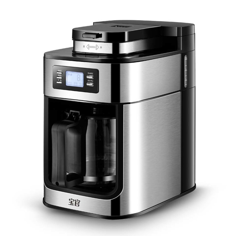 1 2L Coffee Machine Electric Coffee Maker Cafetera Milk Frother Automatic Coffee Bean Grinder with Pot
