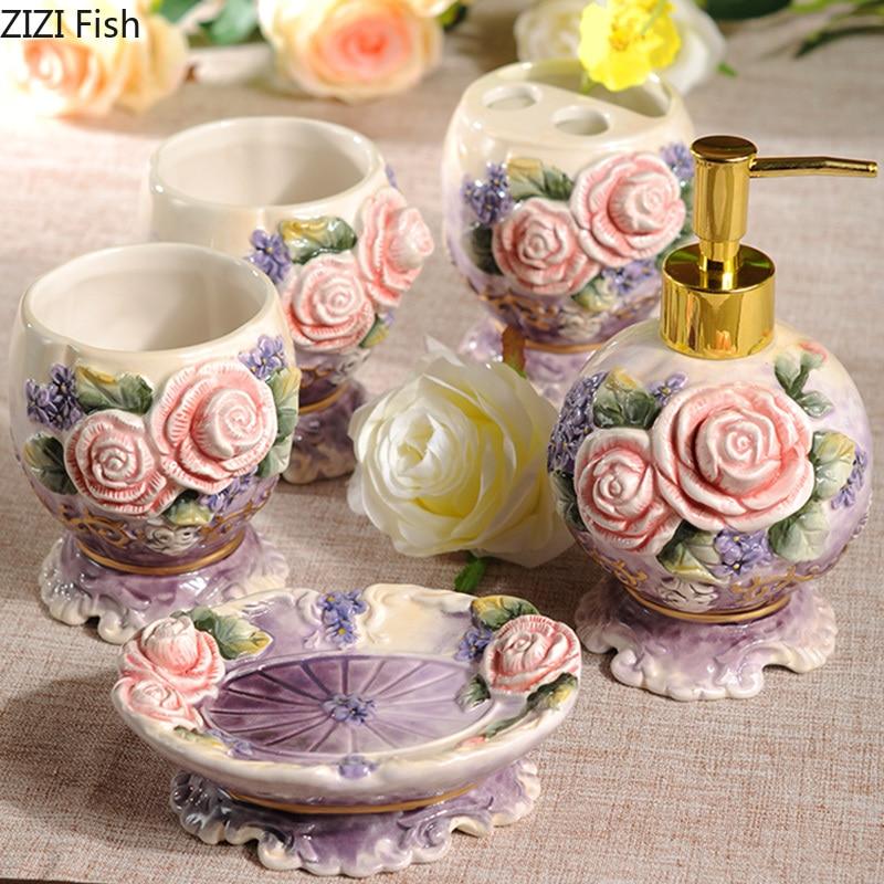 5 unid/set conjunto de accesorios de baño rosa vintage de cerámica herramientas de lavado botella boquilla taza jabón cepillo de dientes artículos para el hogar-in Sets de accesorios de baño from Hogar y Mascotas    1