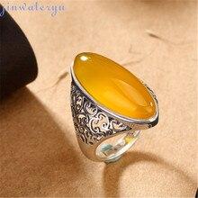 Jinwateryu модные ювелирные изделия 999 серебряные кольца красный синий белый желтый черный натуральный халцедон кольца для женщин девочек