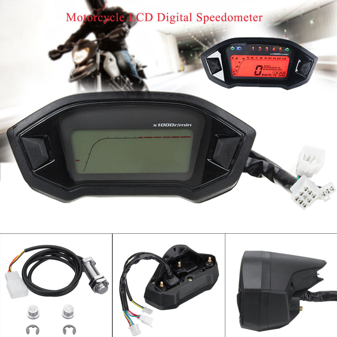 For Motorcycle Motor Parts 1pc 12V Universal Motorcycle LCD Digital Speedometer Tachometer Professional Odometer Gauge Mayitr 12v led motorcycle odometer bike speedometer digital backlight night tachometer gauge panel motorcycle odometer 12000rpm