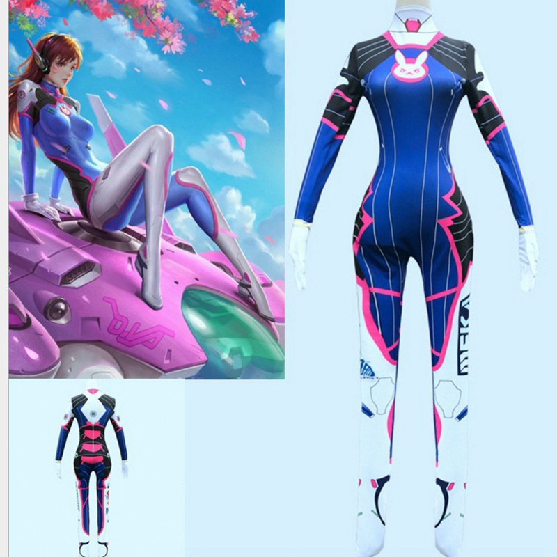 Game <font><b>Overwatch</b></font> <font><b>Dva</b></font> Cosplay <font><b>Costume</b></font> Female/Women/Girls/Lady D.Va Lycra 3D Printing Spandex Body Halloween Party Zentai Wig Suits image