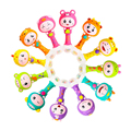 0-3 Y Baby Rattle Hand Bell Toy 6 Styles Owl Bird Chicken Animals Cartoon Safe Plastic ABS Happy Monkey Gift
