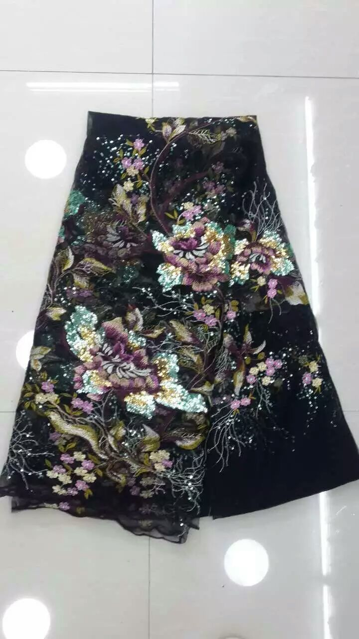 2016 high quality african tulle lace fabric Wholesale sequins French net lace fabric for Nigeria wedding black-in Lace from Home & Garden    1