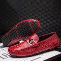 Люксовый Бренд Мужской Крокодил Кожаные Ботинки Новых людей Повседневная Обувь Мокасины Вождение Обувь Мокасины Мужчины Плоские Туфли Случайные Бездельников 8