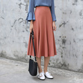 Yichaoyiliang Concise Style Solid Colour High Waist Midi Skirt Elastic Waistband A-line Long Skirt 2017 Spring Pleated Skirt