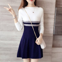 Spring And Autumn And Winter New Women S Long Sleeved Striped Knit Dress Slim Mixed Colors