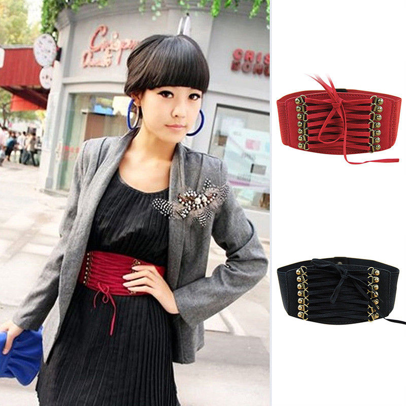 Ladies Stretch Buckle Waist Belts Bow Wide Elastic Corset Cinch Dress Waistband