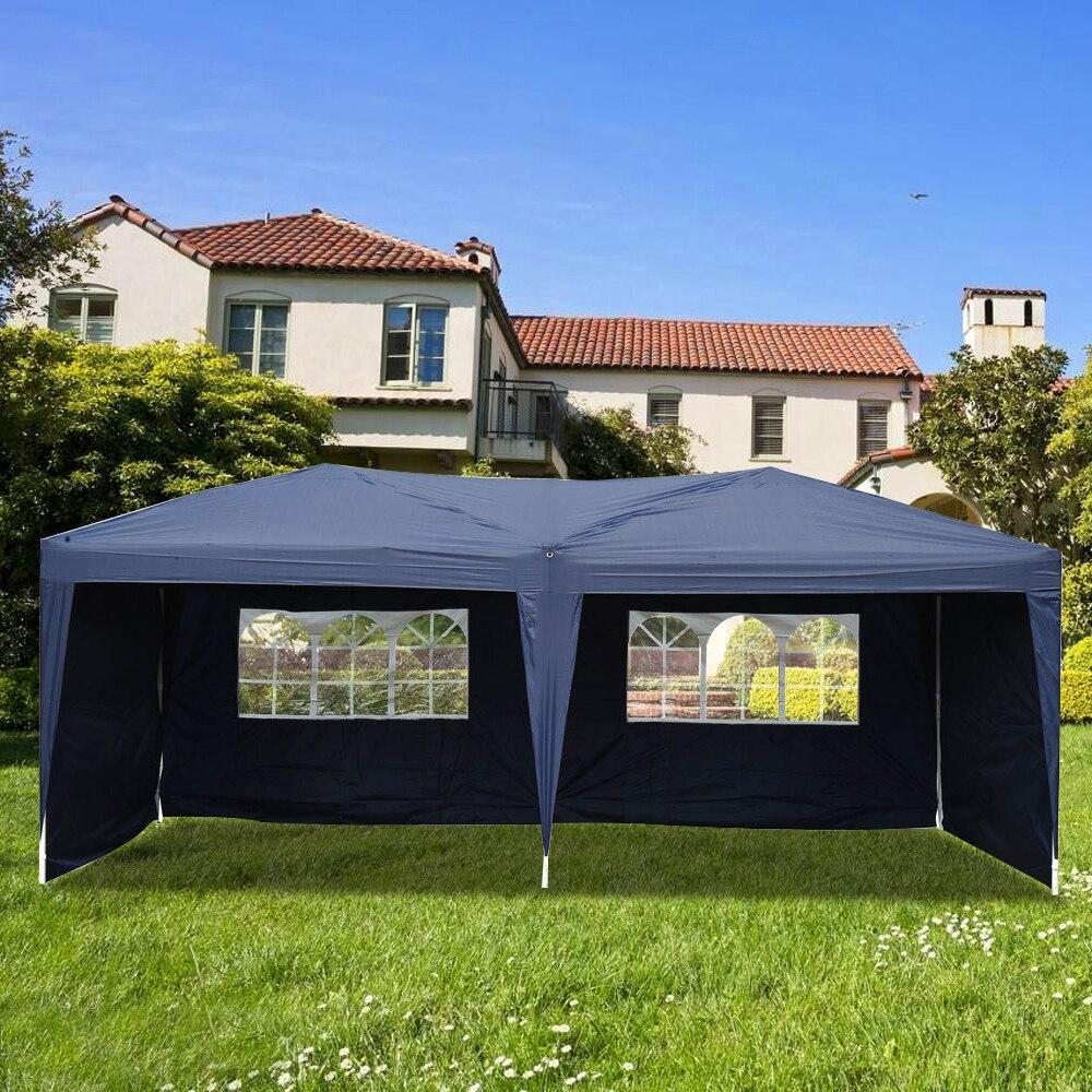 Lotto 3х6 м двумя окнами практичная Водонепроницаемая складная палатка синий навес для беседки Свадебные тент для вечеринок в саду США Бесплат