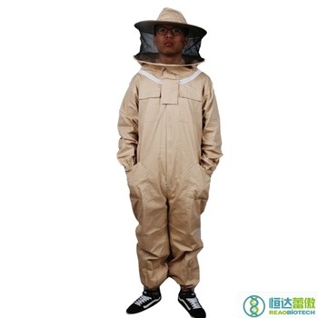 Beekeeper's Protective Suits Beekeeping  Apiculture Apricot Zipper and veil Suit with Hat Bee Costume for Beekeeper HDBS-001