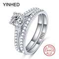 90% OFF ! YINHED Solid 925 Sterling Silver Ring Bridal Wedding Ring Set 1 Carat CZ Diamond Engagement Ring Vintage Jewelry ZR247