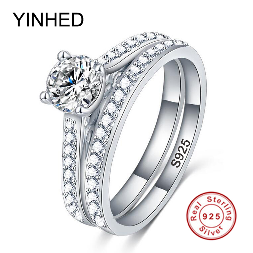 90 OFF YINHED Solid 925 Sterling Silver Ring Bridal Wedding Rings Set 1CT Cubic Zircon Engagement