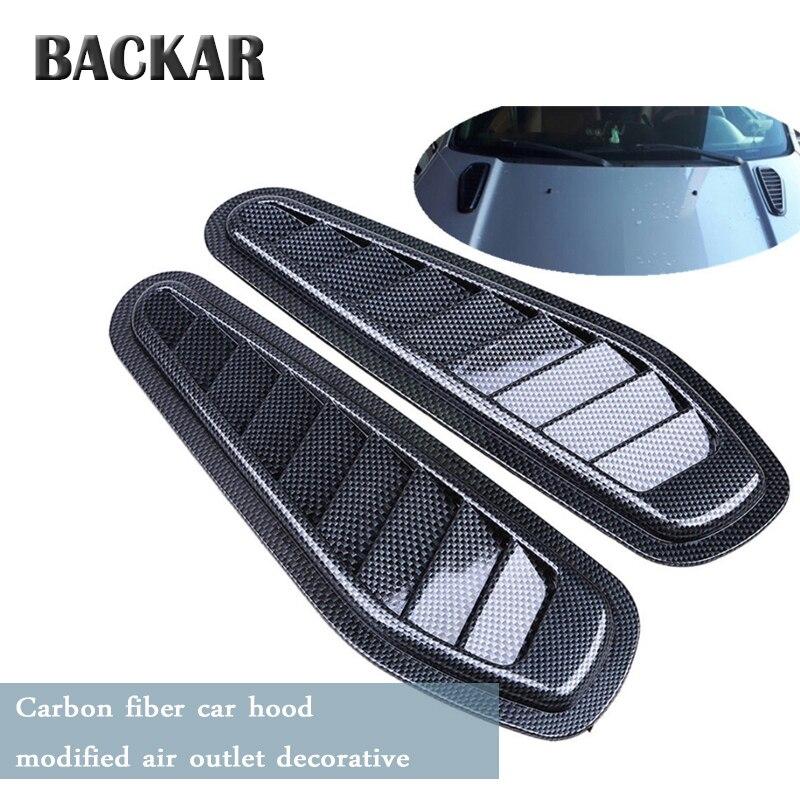 Arrière voiture style autocollants en Fiber de carbone flux d'air prise Scoop capot capot de couverture pour Mini Cooper Lada Alfa Romeo Ford Jeep