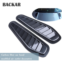 BACKAR Car Styling Carbon Fiber Stickers Air Flow Intake Scoop Bonnet Vent Cover Hood For Mini Cooper Lada Alfa Romeo Ford Jeep