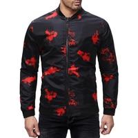 M 3XL Flowers Printed Jackets Men 2018 Red Floral Erkek Ceket Casacas Para Hombre Slim Fit Europe Fashion Printed Bomber Jackets