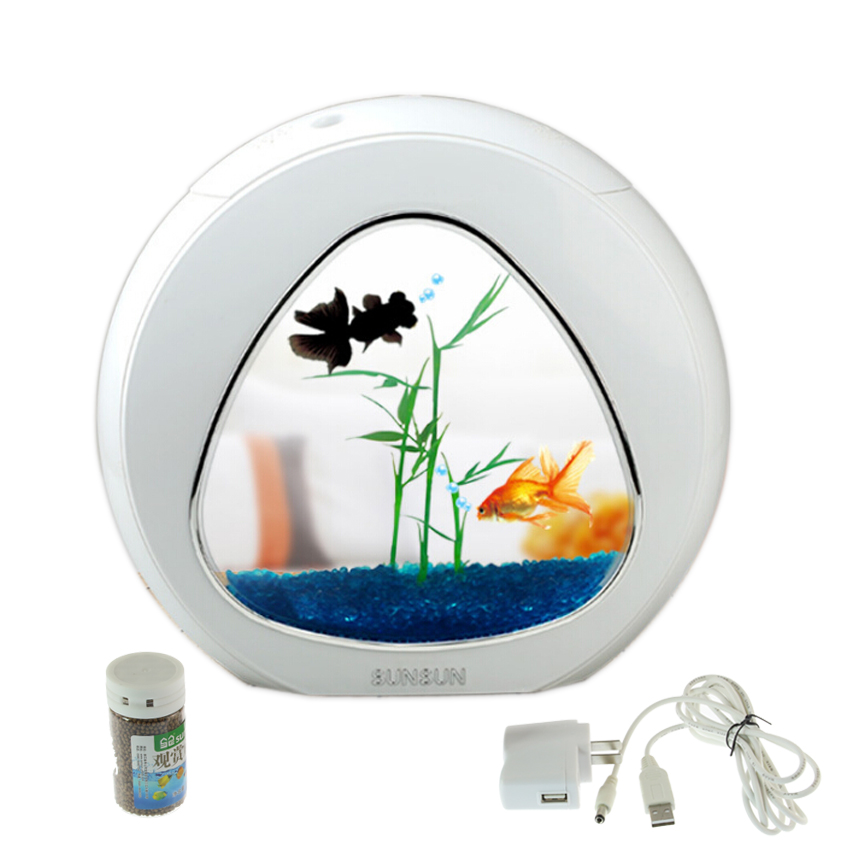 mini aquarium fish tank aquarium fish bowl aquarium tank 110v 220v usb led lighting comes. Black Bedroom Furniture Sets. Home Design Ideas