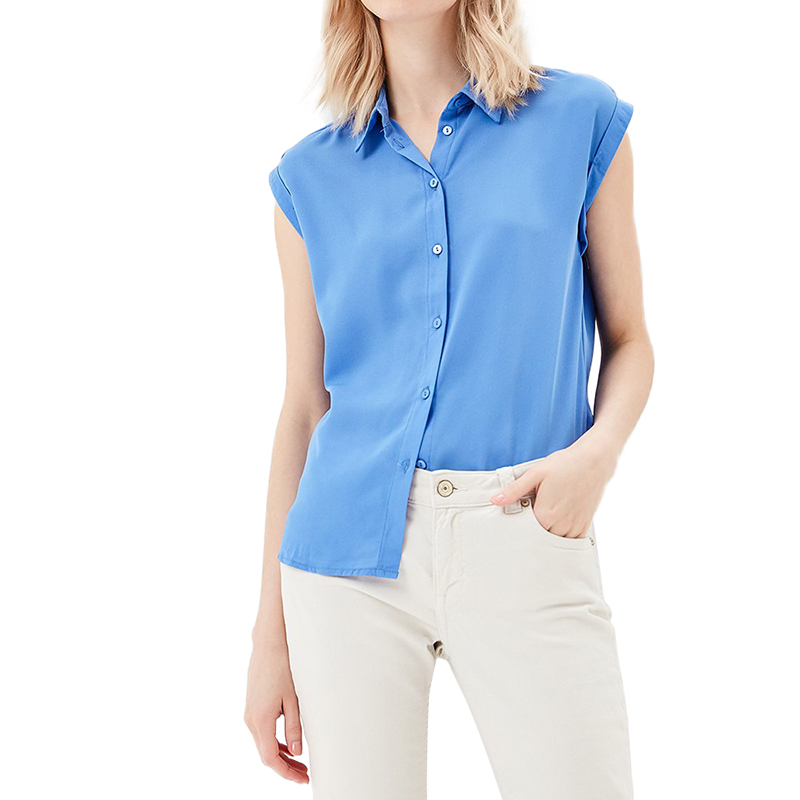 Blouses & Shirts MODIS M181W00835 women blouse shirt  clothes apparel for female TmallFS trendy spaghetti strap 3 4 sleeve pure color blouse for women