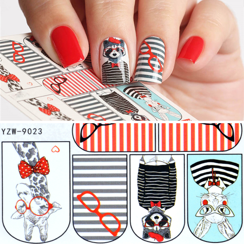 YZWLE 1 Sheet Nail Art Water Transfer Sticker Decals Cute Rabbit Cartoon Stickers Wraps Tips Decoration For Girl Nails Manicure 2016 cartoon design nail art manicure tips water transfer nail stickers paradise vacation desgins nails wraps collections decor