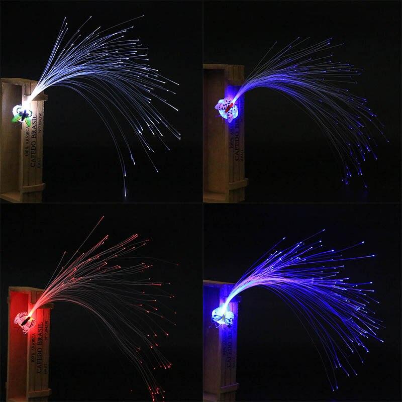 LED Fiber Optic Butterfly Headband Hairpin Light-Up Hair Braids Barrette Flashing Party High Quality