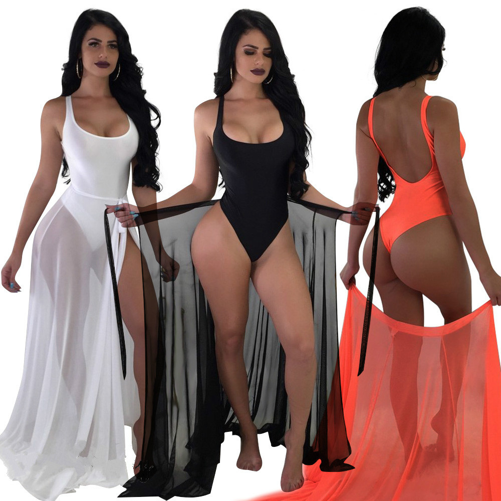 9a5c364380 Detail Feedback Questions about 2018 Fashion Women Swimsuit Dress Plus Size  Bodysuits and Sheer Beach Cover Up Maxi Wrap Dress Sarong Pareo Dress on ...
