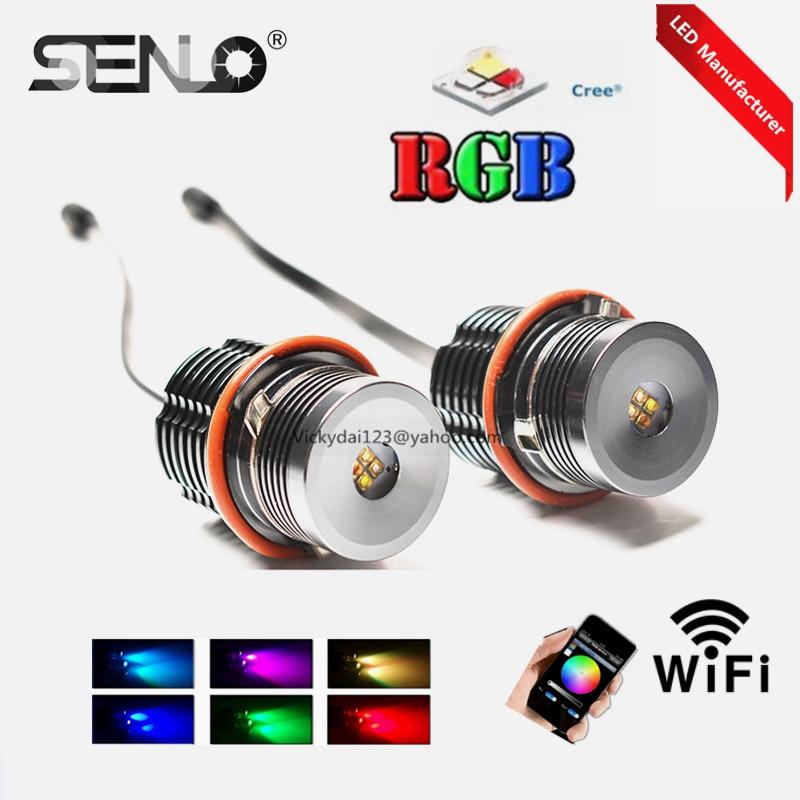Yeni tasarım telefon kontrolcü E39 rgb led Melek Göz led işaretleyici renk değişimi rgbw 20 w BM W E87 Için E39 E60 E65 E65 E53 e36 e38