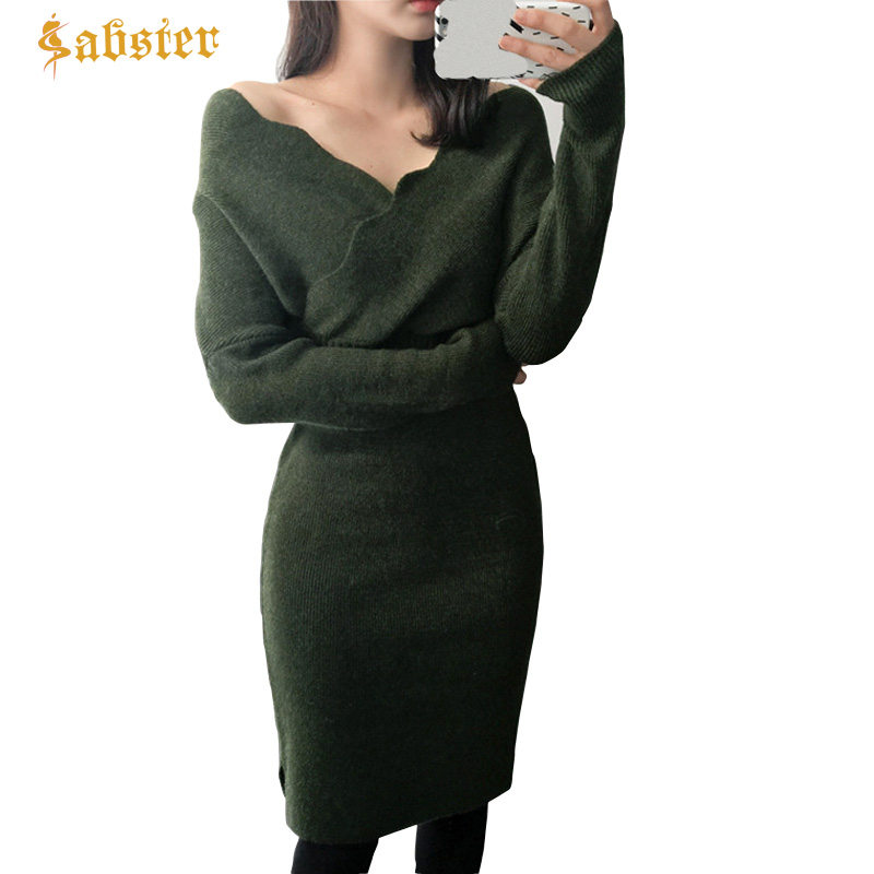 Autumn Winter Women Sexy Sweater Dress Fashion V Neck Bodycon Dress Solid Color Knitted Office Ladies Dress 2018 ladies women casual knitted dress sexy strap slip sleeveless v neck solid home bottoming straight sweater dress