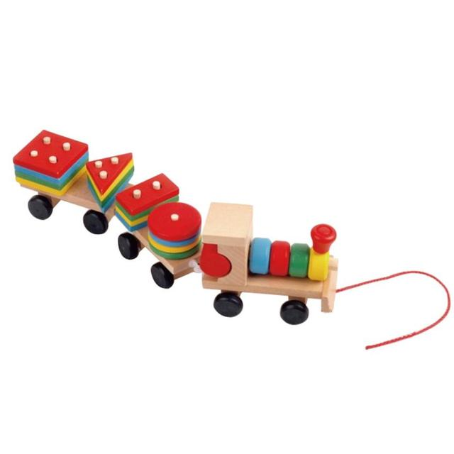 Kids Baby Developmental Toys Wooden Train Truck Set Geometric Blocks