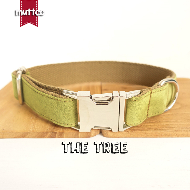 MUTTCO retailing self-design dog collar THE TREE poly satin and nylon yellow green and brown 5 sizes dog collar and leash UDC031
