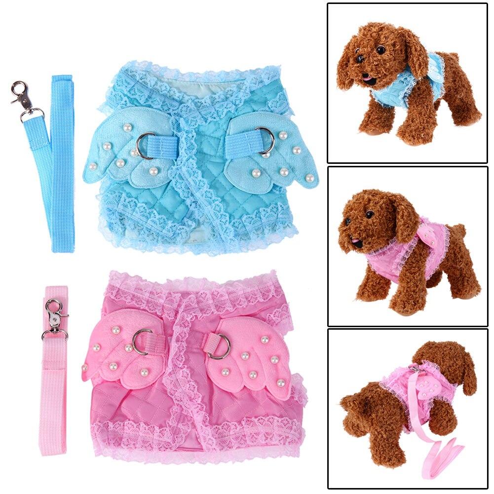 S/M/L Cute Adjustable Pet Puppy Nylon Mesh Vest Dog Harness Collor Chest Strap Leash Harnesses For Dogs Cats