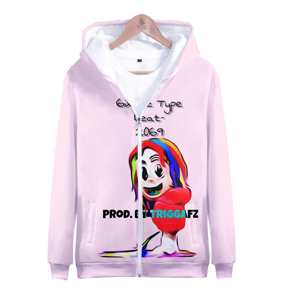 rapper Tekashi 69 6ix9ine 3D print Men's Jackets Hooded Coats Casual Zipper Sweatshirts Male Tracksuit Funny Clothing Outerwear
