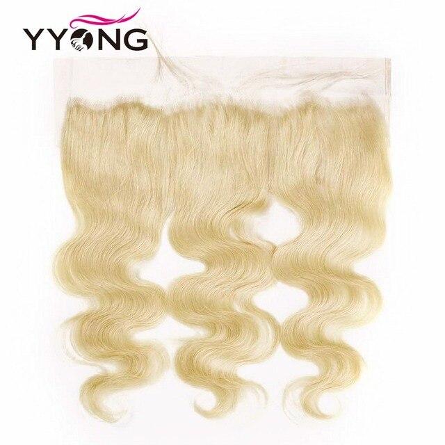 Mechones brasileños Yyong 613 con mechones de pelo humano Frontal rubio con cierre Frontal de encaje Remy con mechones 4 piezas por lote