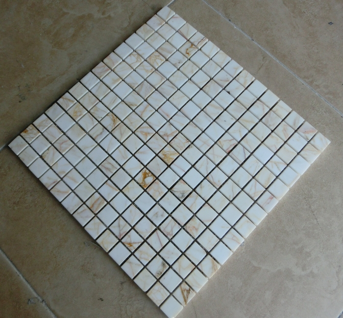 15mm Marble Stone Mosaic Tiles White Color For Kitchen Bathroom