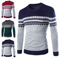 Men Round Neck Knitwear Long Sweater Sleeve Slim Fit Pullover Coat Sweaters New