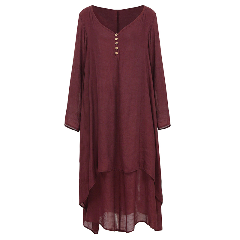 EaseHut Vintage Women Casual Loose Dress Solid Long Sleeve Boho Ethnic Autumn Long Maxi Dresses Plus Size Retro vestido mujer 15