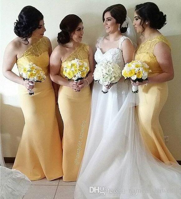 Light yellow maid of honor dresses