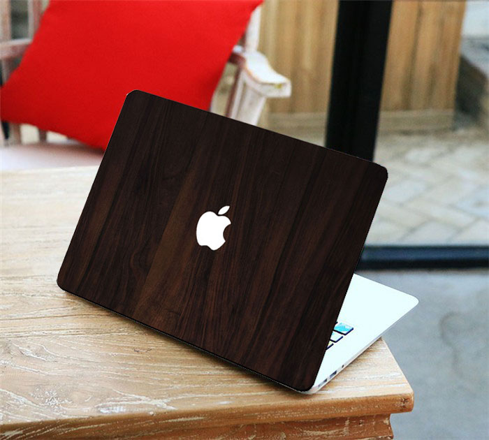 Retro sandal wood grain front cover laptop decal sticker for apple macbook air pro retina 11 13 15 inch vinyl skin in laptop skins from computer office on