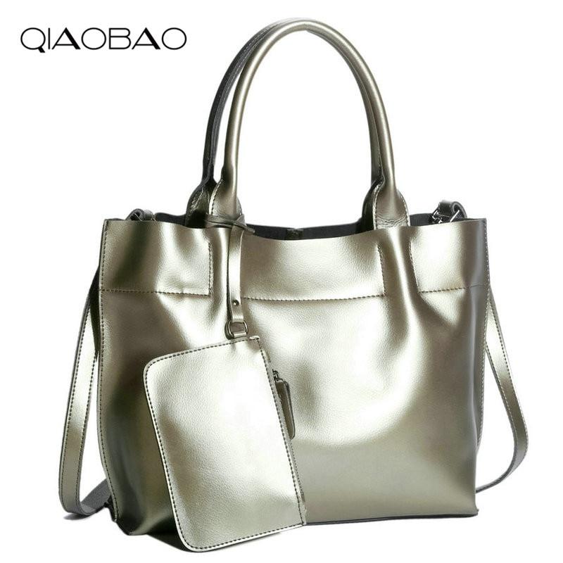 QIAOBAO Genuine Leather Tote Bag High Capacity Shoulder Bag Luxury Handbags Women Bags Designer Practical Women Bags Lady Tote