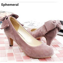 Ladies sexy elegant bowtie (4 to 12) Nubuck leather round toe high heeled wedding shoes women pumps in black/pink/brown/silver