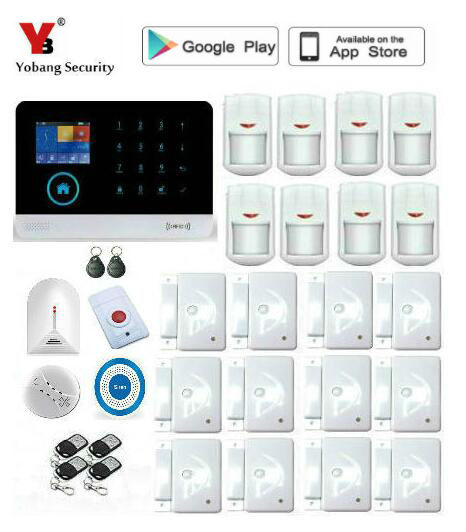 Yobang Security Wireless wif App control Home Security GSM Alarm systems Wired Siren Kit SIM SMS Alarm metal remote control home security gsm alarm systems voice prompt wireless door sensor lcd display wired siren kit sim sms alarm