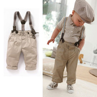 2013 Newest Free Shipping Baby Boy Retro Handsome Summer Clothing Set Short Sleeve Suspender Trousers Kids