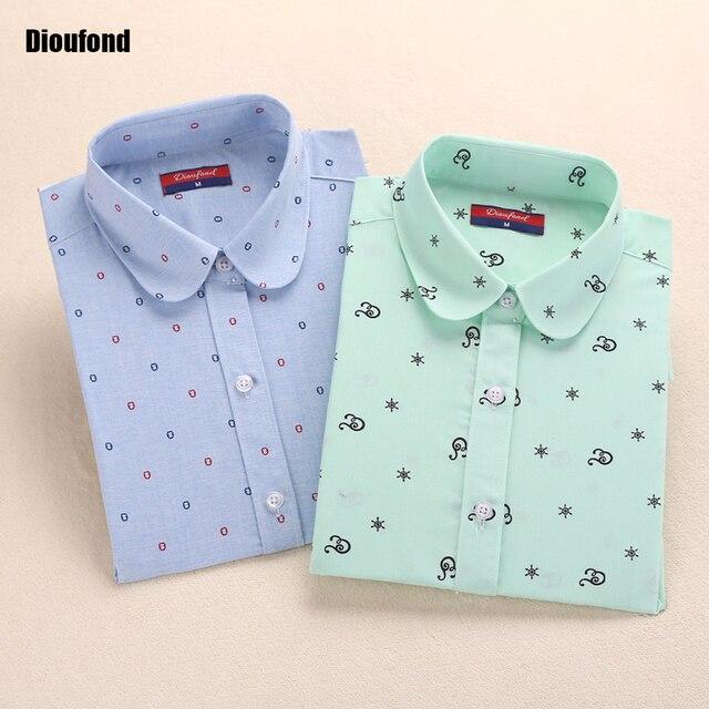 Dioufond 5XL Цветочная блузка летняя рубашка Для женщин фрукты топы с длинными рукавами хлопковые рубашки розовый Белые блузы Blusas Femininas 2016 Новинка