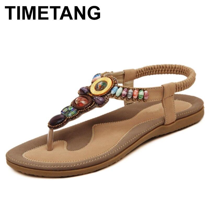 TIMETANG Brand 2018 New Korean Comfortable Women Sandals Bohemian Beaded Clip Toe Flat Shoes Sandals Shoes 2016 korean flat toe sandals are sparkling sandals