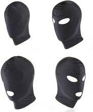 4 стиль фетиш бдсм маска Вытяжки Игры Для Взрослых Черная голова Маска Секс БДСМ Для мужчин гей открытый рот глаз Связывание Секс взрослых Секс-игрушки для пары