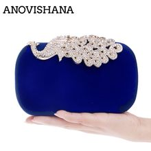 цена ANOVISHANA Ladies Evening Handbags elegant Women Clutches Party Bags Wedding Bags blue Clutch Purses Small Shoulder Bag handbag онлайн в 2017 году