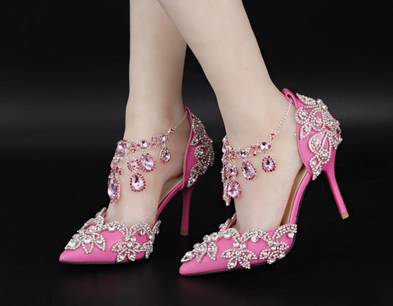 Automne Avec Tout Collier Mariage Pointu De Cheville Mince Chaussures Strass Mode Et Cristal un Printemps 2019 en Nouvelle Rose 501qvWxw