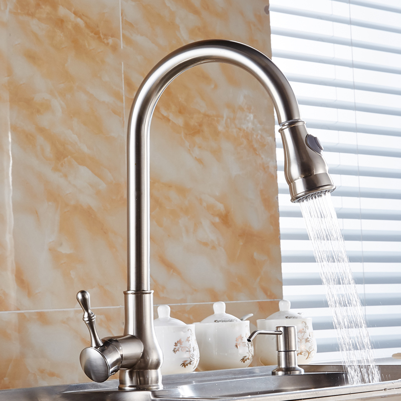 Solid Brass Brushed Nickel Kitchen Faucet Cold And Hot Sink Washbasin Pull Out Torneira Cozinha Mixer Water Tap ZT28 kemaidi high quality brass morden kitchen faucet mixer tap bathroom sink hot and cold torneira de cozinha with two function