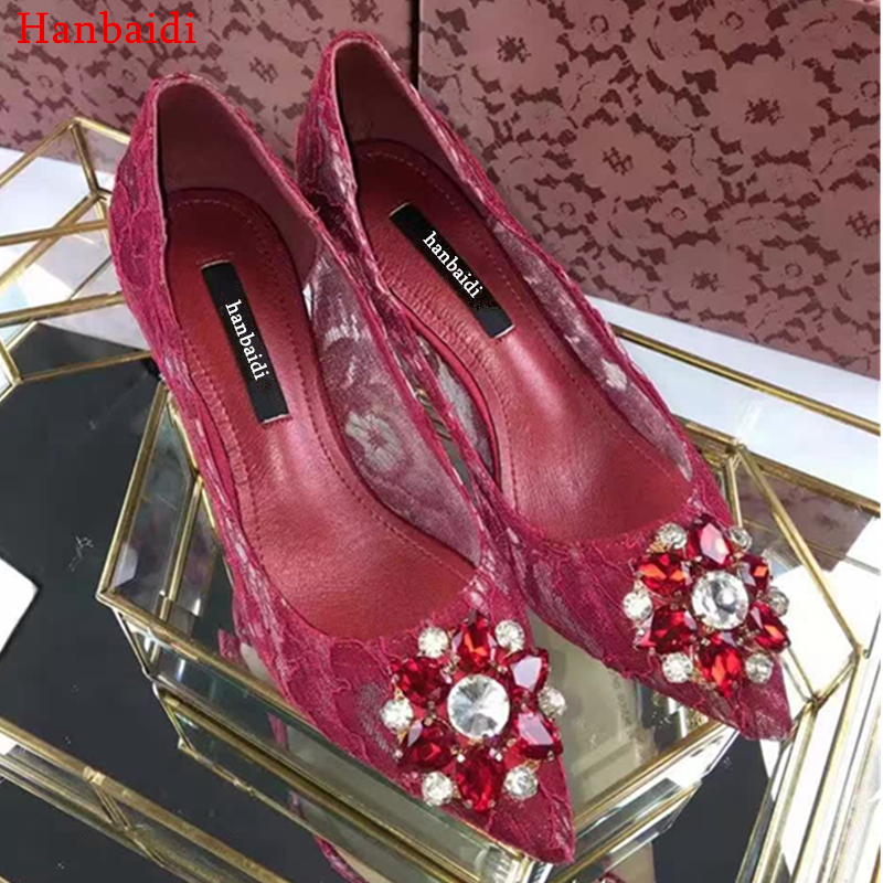 Hanbaidi Luxury Diamond New Fashion Women Pumps Sexy Lace High Heels Pointed Toe Slip On Women Party Wedding Shoes Women Pu'm'ps enmayer 2017 hot fashion extreme high heels round toe slip on sexy silver shoes women new style summer women pumps for party 41
