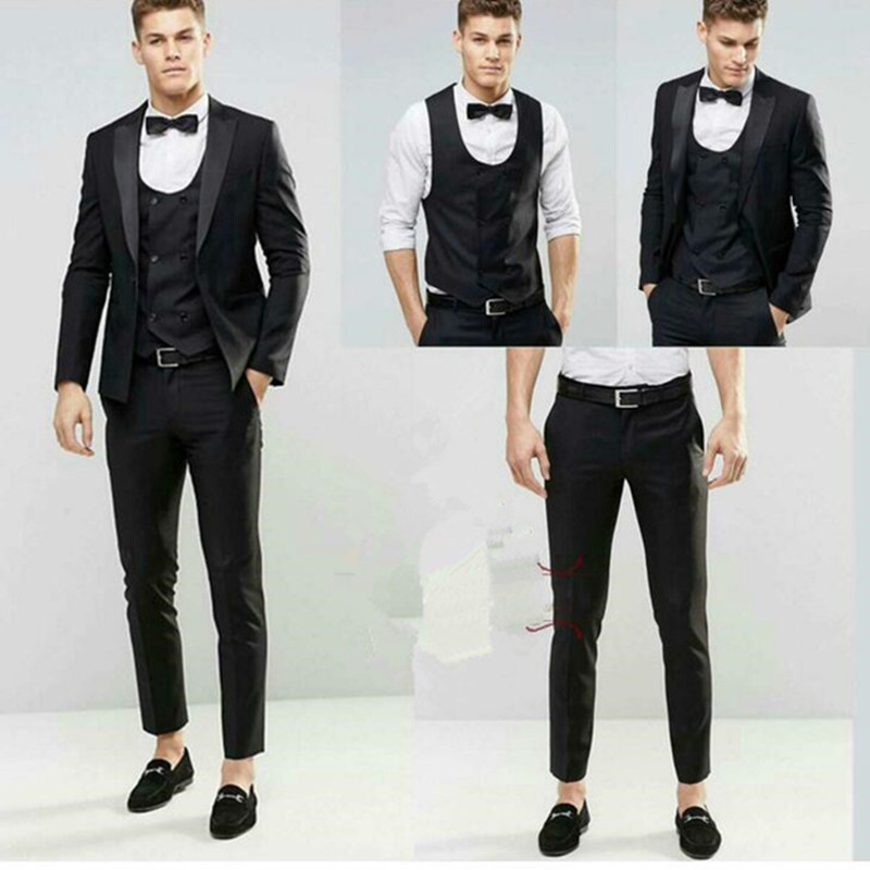 Latest Coat Pant Design 2017 Black Wedding Groom Men Suit