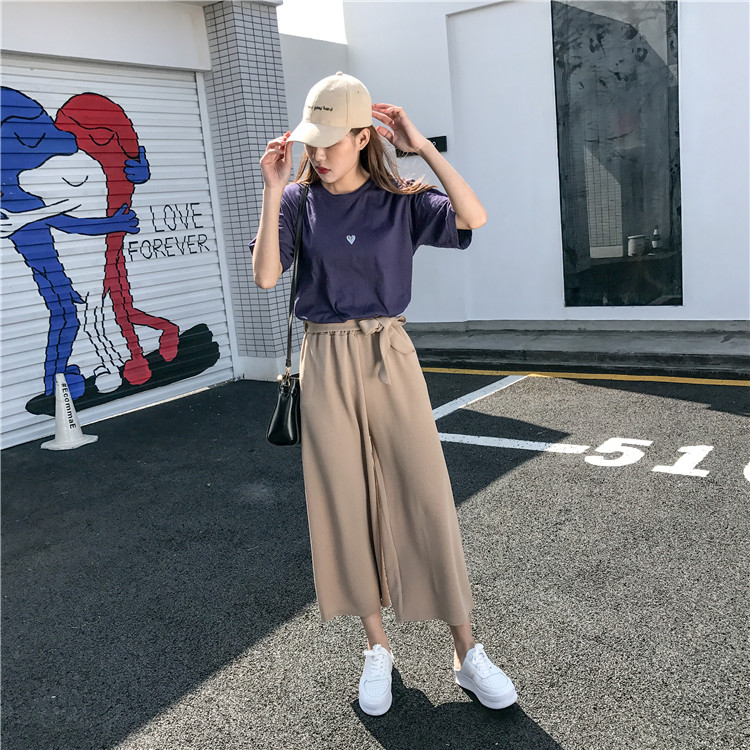 19 Women Casual Loose Wide Leg Pant Womens Elegant Fashion Preppy Style Trousers Female Pure Color Females New Palazzo Pants 3