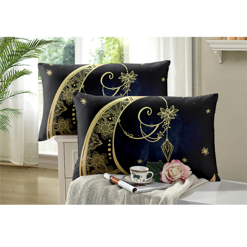 Bohomia Style Black Bedding Set Golden Moon Star Print Duvet Cover Set Twin Full King Queen Bed Cover 3Pcs ropa de cama D35 in Bedding Sets from Home Garden